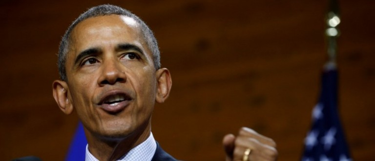 U.S. President Obama delivers a speech during his visit to Hanover