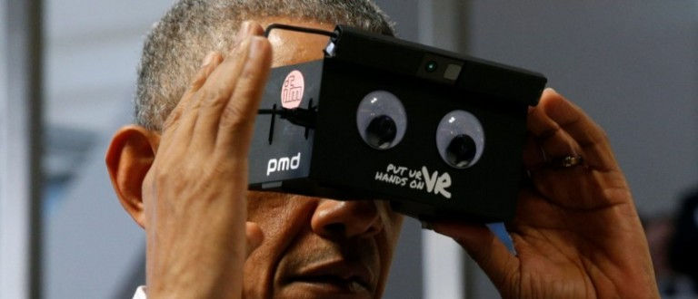 U.S. President Obama tries virtual reality glasses and he and German Chancellor Merkel tour Hanover Messe Trade Fair in Hanover