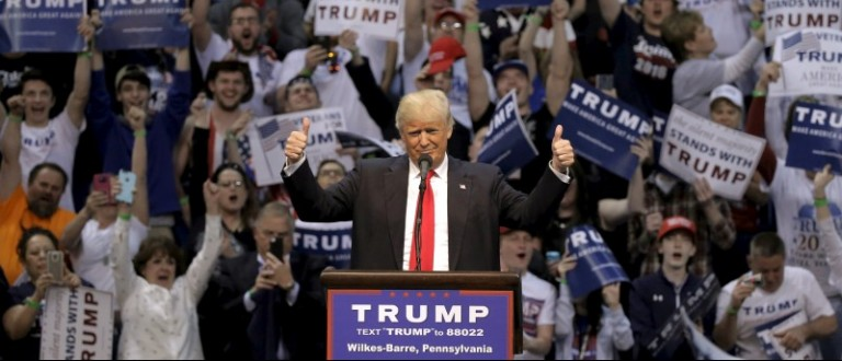 U.S. Republican presidential candidate Donald Trump gives a thumbs up during a rally in Wilkes-Barre, Pennsylvania