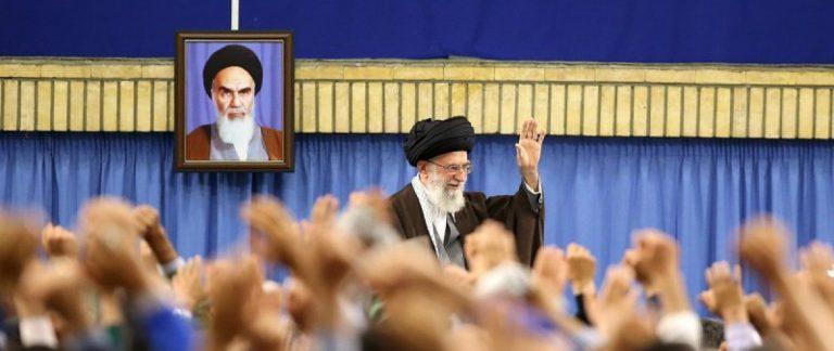 Iran's Supreme Leader Ayatollah Ali Khamenei waves as he arrives to address workers in Tehran, Iran, April 27, 2016. Leader.ir/Handout via REUTERS