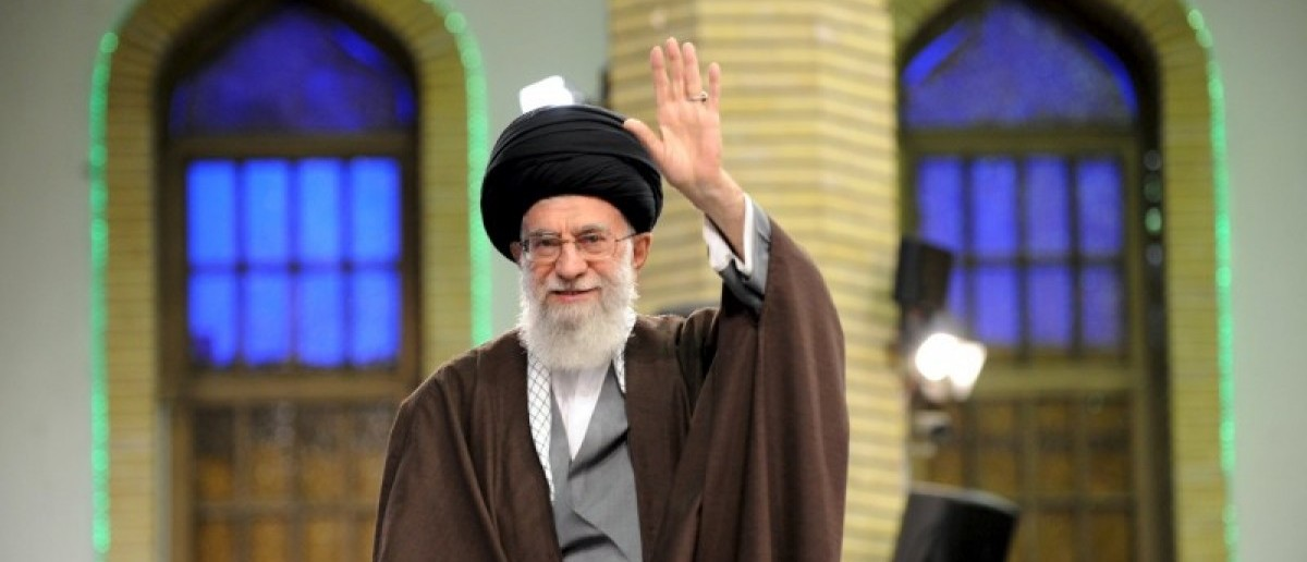 Iran's Supreme Leader Ayatollah Ali Khamenei waves as he arrives to address workers in Tehran, Iraq, April 27, 2016. Leader.ir/Handout via REUTERS