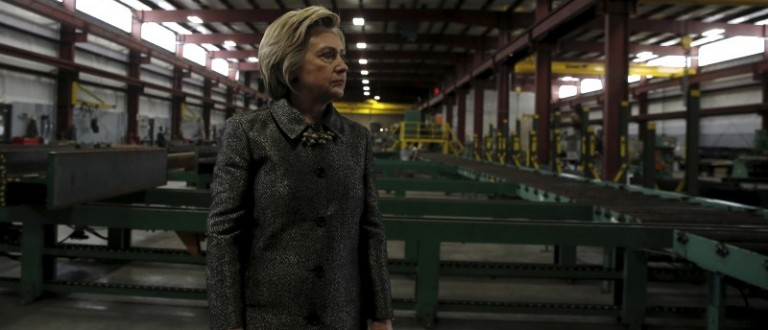 Democratic presidential candidate Hillary Clinton tours Munster Steel in Hammond, Indiana, April 26, 2016