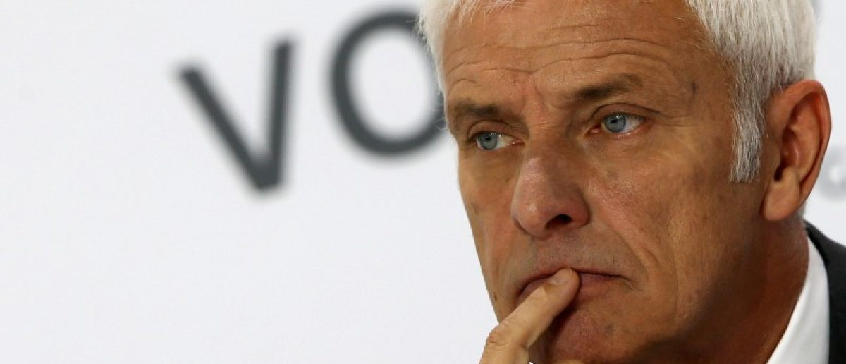 Volkswagen CEO  Mueller attends the annual news conference in Wolfsburg