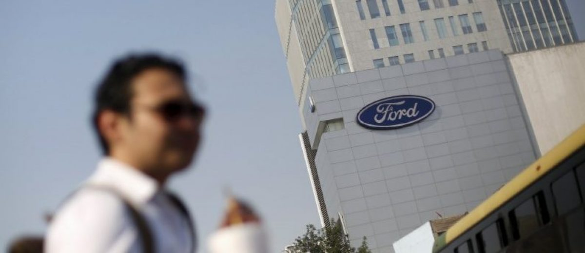 The logo of Ford is pictured near a sales store of the automaker in Mexico City, Mexico, April 5, 2016. REUTERS/Edgard Garrido