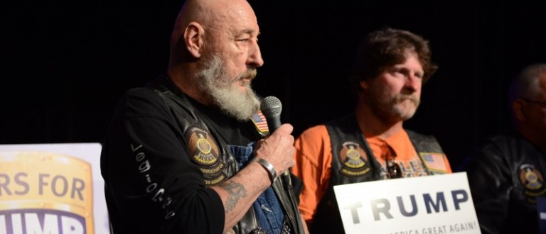 """Bikers Bill """"Chewy"""" Throckmorton  and Greg """"Biggs"""" Bigger  recite the Pledge of Allegiance during a Bikers for Trump 2016 rally in Warrendale Pennsylvania"""