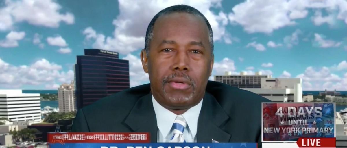 Ben Carson, Screen Shot MSNBC, 4-15-2016