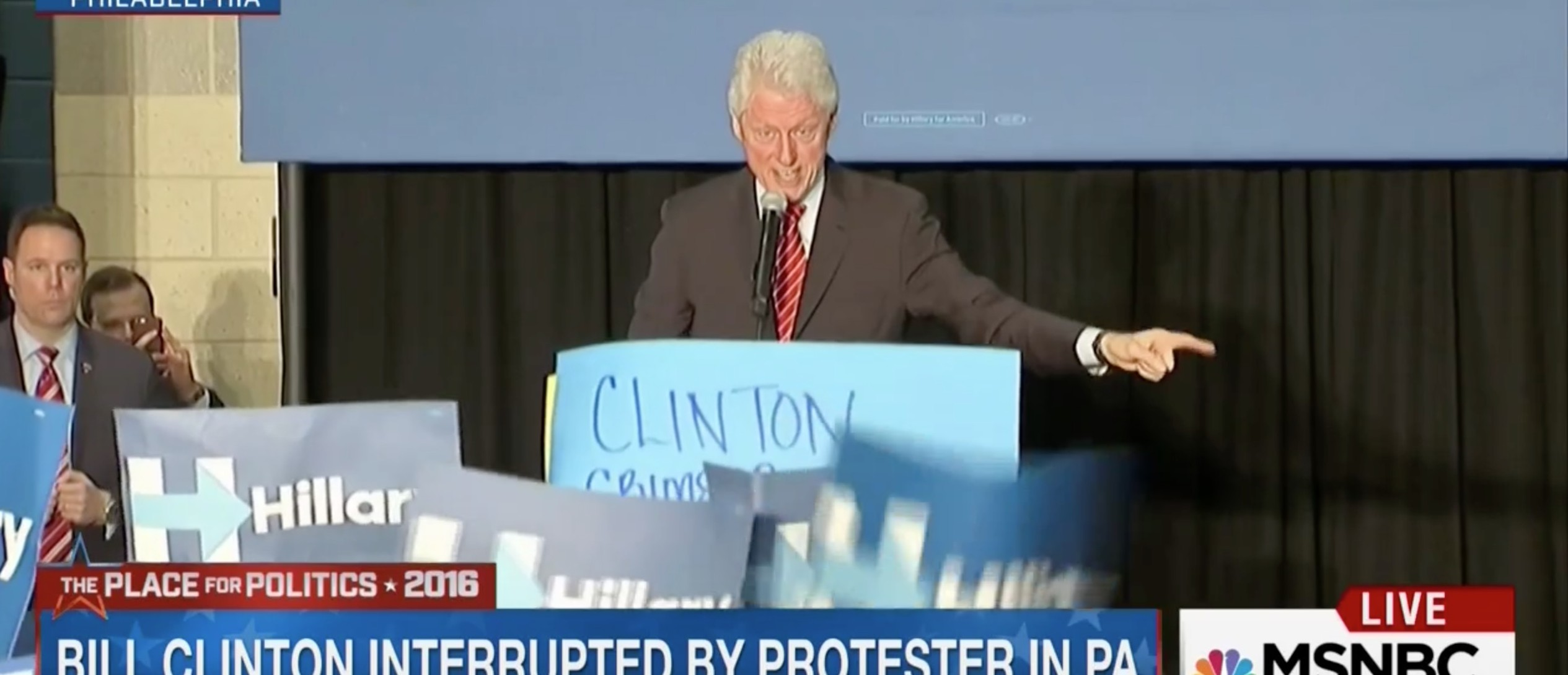 Bill Clinton, Screen Shot MSNBC, 4-7-2016