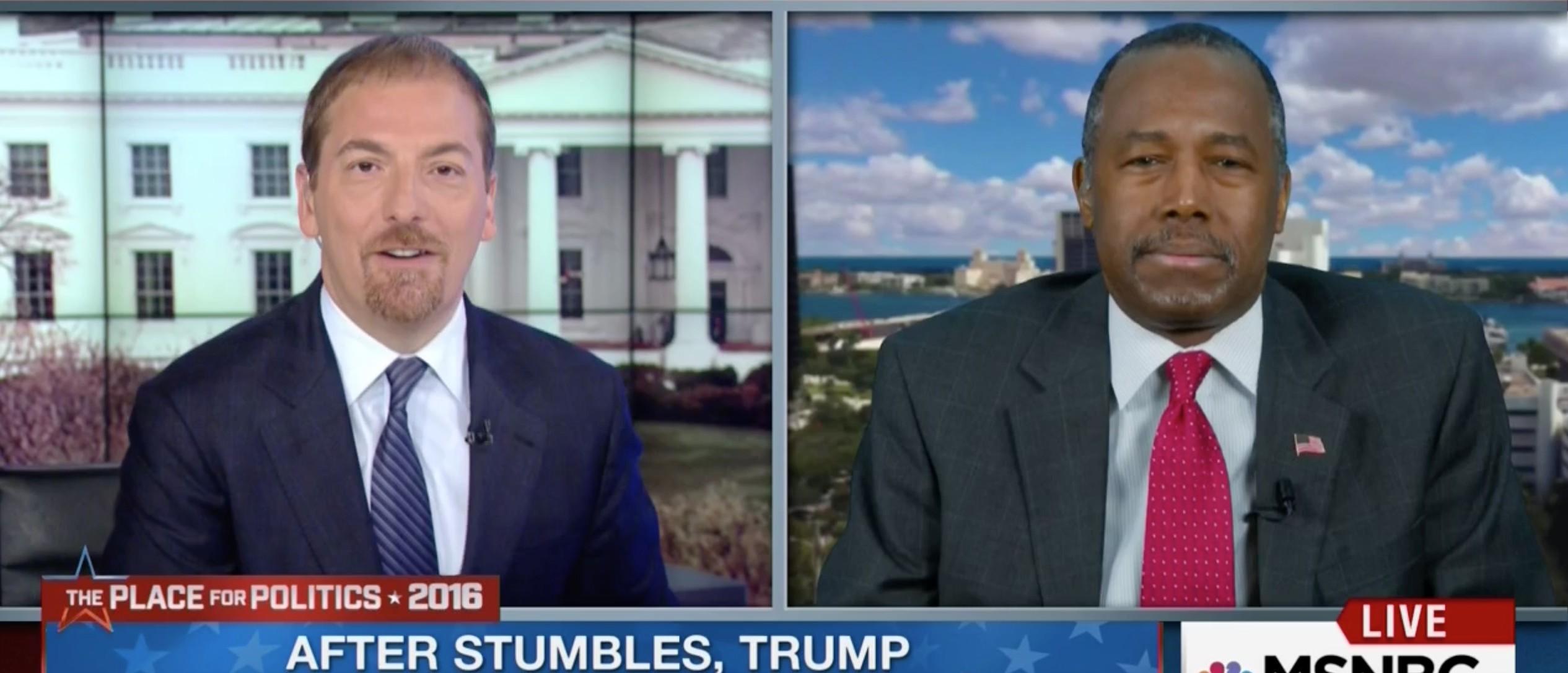 Chuck Todd, Ben Carson, Screen Shot MSNBC, 4-1-2016