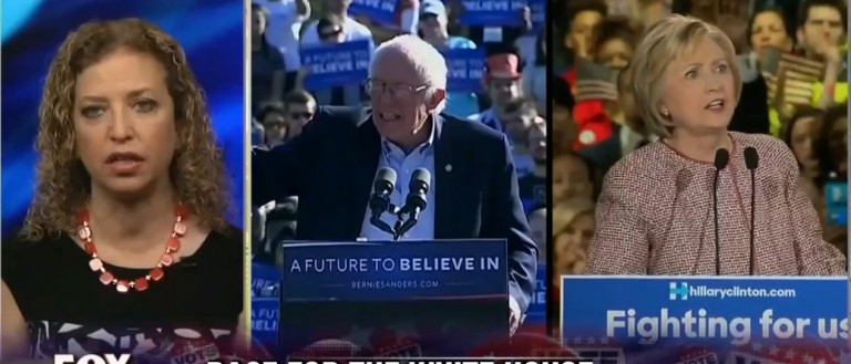 Debbie Wasserman Schultz, Bernie Sanders, Hillary Clinton, Screen Shot Fox, 4-24-2016