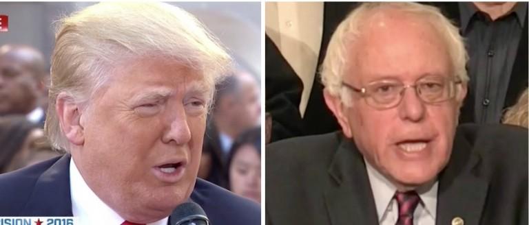 Donald Trump, Bernie Sanders, Screen Shot MSNBC and NBC, 4-26-2016