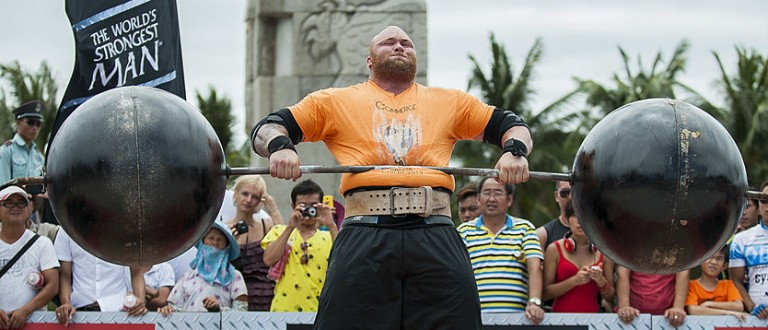 Hafthor Bjornsson of Iceland competes at the Circus Medley event during the World's Strongest Man competition