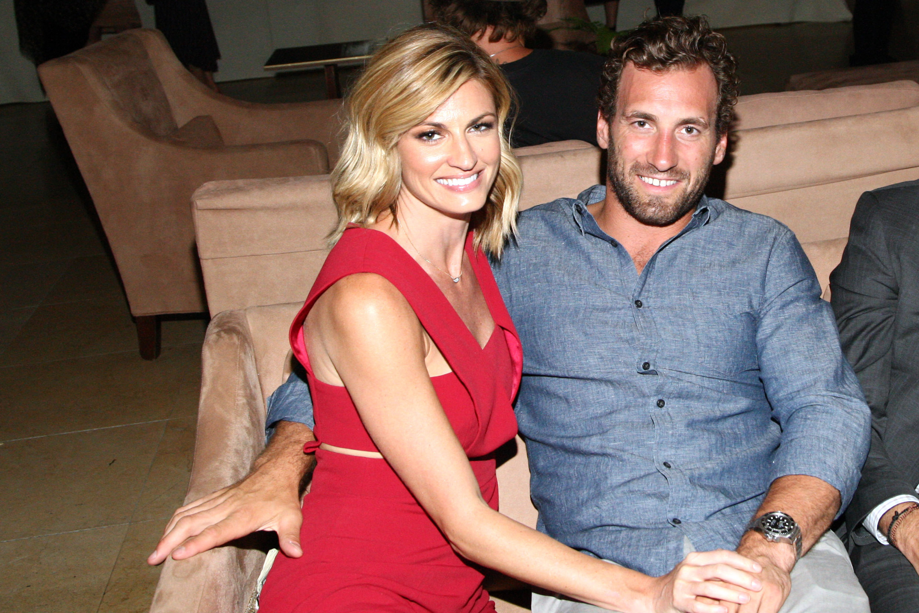 WEST HOLLYWOOD, CA - JULY 16: TV personality Erin Andrews and hockey player Jarret Stoll attend the Amazon Prime Summer Soiree hosted By Erin and Sara Foster held at Sunset Towers on July 16, 2015 in West Hollywood, California. (Photo by Tommaso Boddi/Getty Images for Amazon)