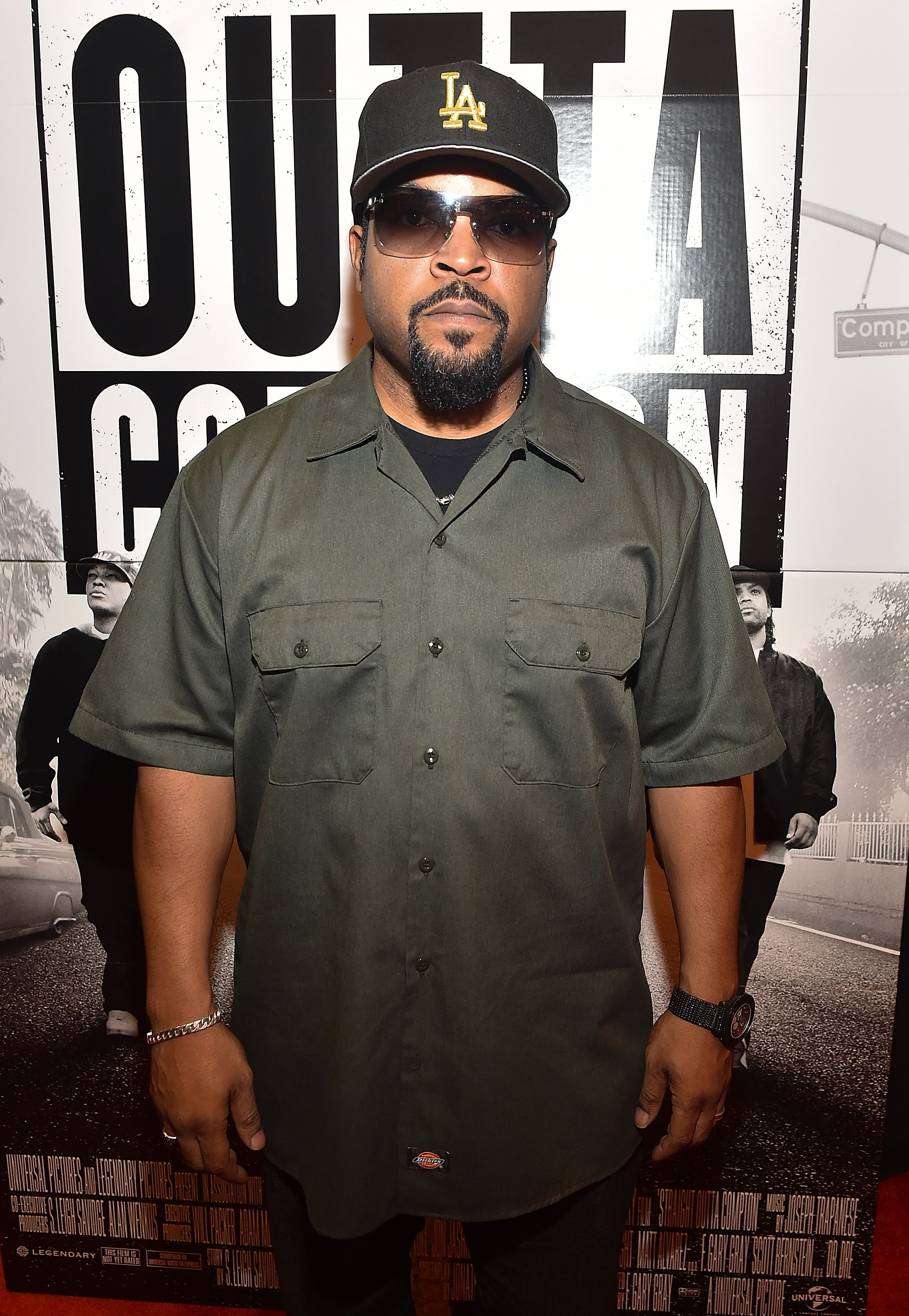 "ATLANTA, GA - JULY 24: Rapper/actor Ice Cube attends ""Straight Outta Compton"" VIP Screening With Director/ Producer F. Gary Gray, Producer Ice Cube, Executive Producer Will Packer, And Cast Members at Regal Atlantic Station on July 24, 2015 in Atlanta, Georgia. (Photo by Paras Griffin/Getty Images for Universal Pictures)"