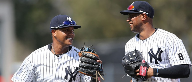 New York Yankees second baseman Starlin Castro #14 and outfielder Aaron Hicks #31