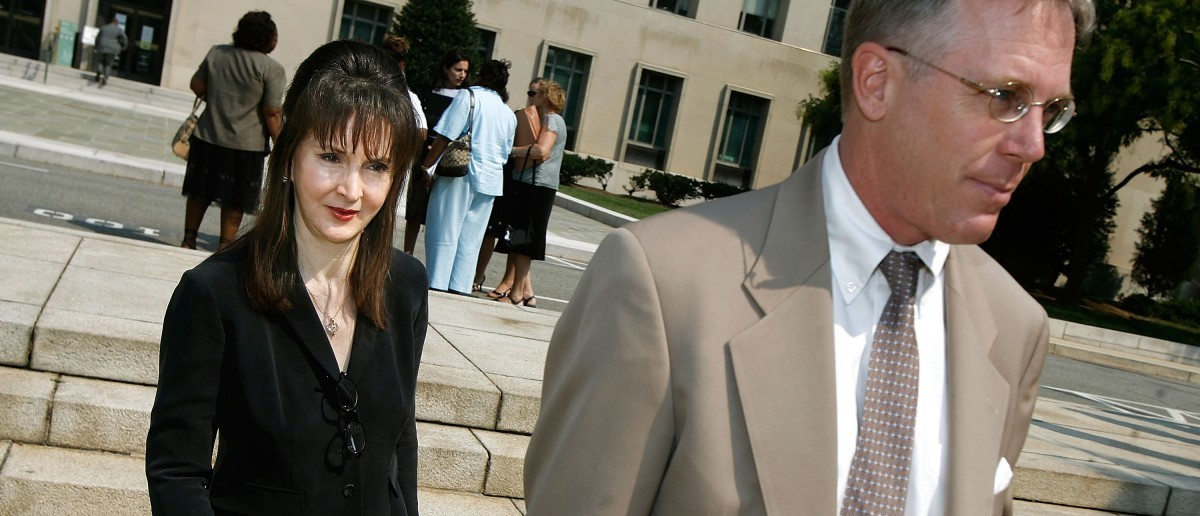 """""""DC Madam"""" Deborah Jeane Palfrey (L) and her laywer Montgomery Blair Sibley leave the Prettyman U.S. Courthouse after attending several motion hearings in her trial Sept. 7, 2007 in Washington, DC. (Chip Somodevilla/Getty Images)"""