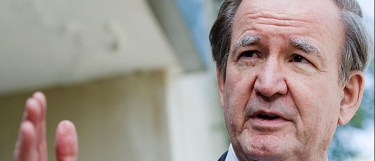 WASHINGTON - JUNE 15:  Pat Buchanan speaks about Tim Russert to reporters outside NBC's bureau June 15, 2008 in Washington, DC.  This week's Meet the Press show was a tribute to host Tim Russert who died at age 58 of a heart attack last week.  (Photo by Brendan Smialowski/Getty Images)