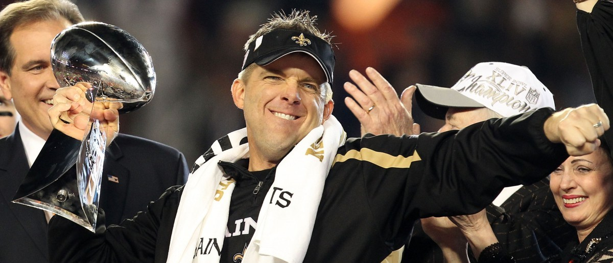 Head coach Sean Payton of the New Orleans Saints holds up the Vince Lombardi Trophy after defeating the Indianapolis Colts during Super Bowl XLIV on Feb. 7, 2010 at Sun Life Stadium