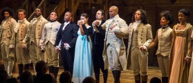"""Lin-Manuel Miranda, actor and creator of the of the play """"Hamilton,"""" bows to the audience after opening night of the play on Broadway in New York"""