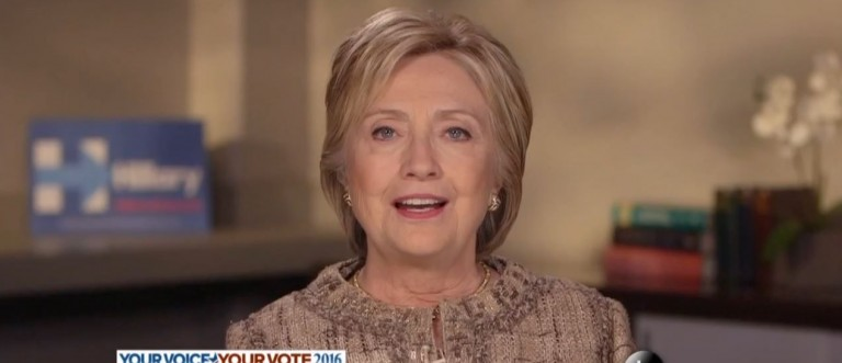 Hillary Clinton, Screen Shot ABC, 4-17-2016