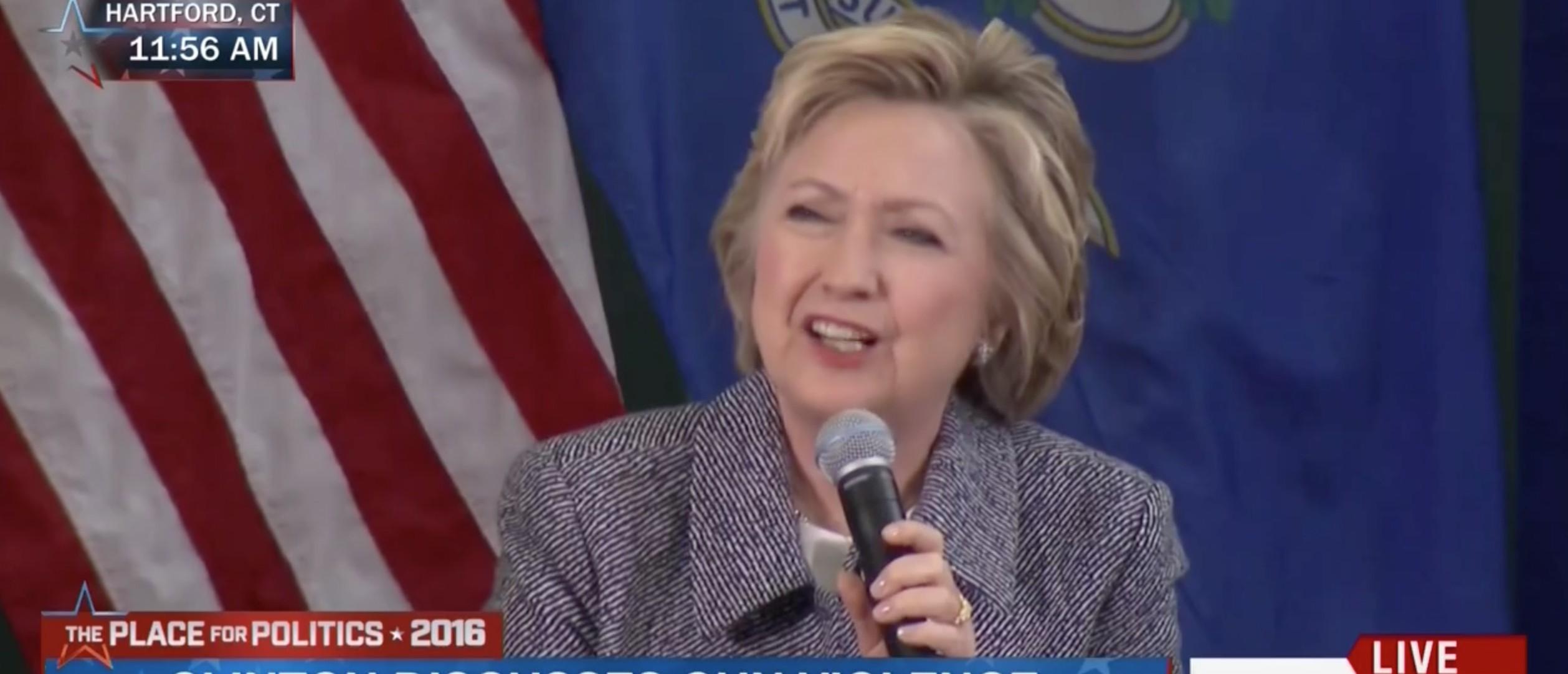 Hillary Clinton, Screen Shot MSNBC, 4-21-2016