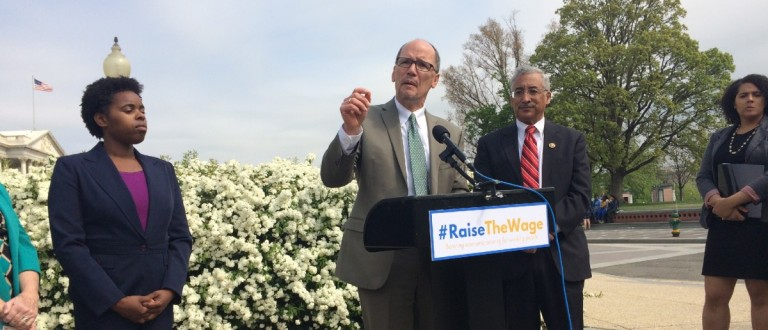 Labor Secretary Thomas Perez speaks for a higher minimum wage (Connor D. Wolf/DCNF)