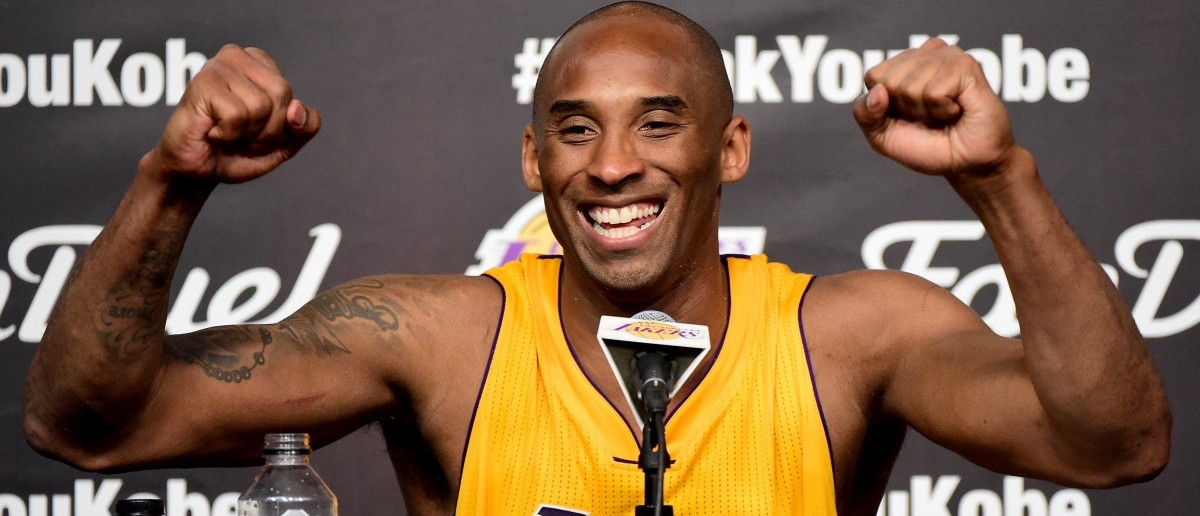Kobe Bryant of the Los Angeles Lakers smiles during the post game news conference after scoring 60 points in the final game of his NBA career at Staples Center on April 13, 2016 in Los Angeles. (Photo by Harry How/Getty Images)