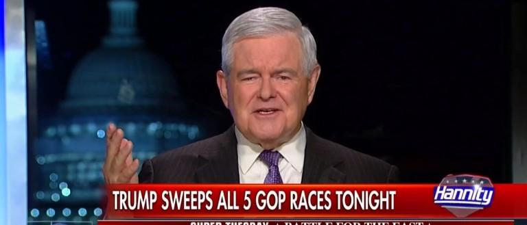 Newt Gingrich, Screen Shot Fox News, 4-26-2016