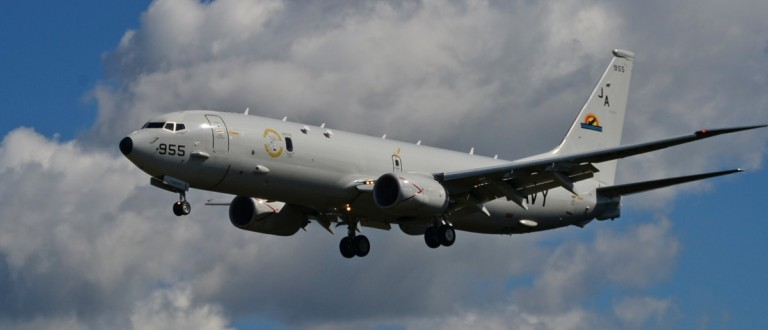 A P-8A Poseidon from Air Test and Evaluation Squadron (VX) 1 demonstrates its capabilities July 14 at the 2014 Farnborough International Airshow. Source: U.S. Naval Air Systems Command