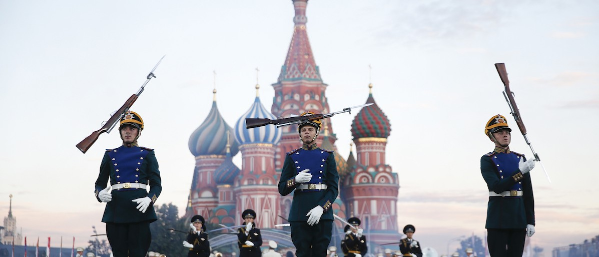 """Participants perform during the International Military Music Festival """"Spasskaya Tower"""" in Moscow"""