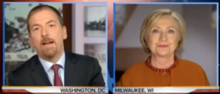 "Hillary Clinton interviewed on ""Meet the Press,"" April 3, 2016. (Youtube screen grab)"