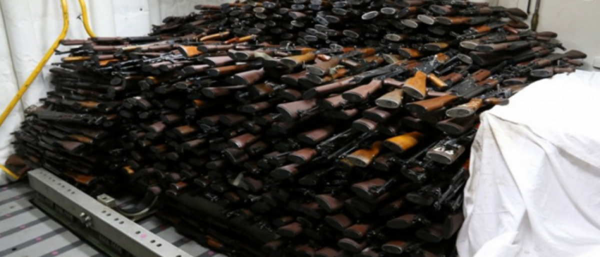 Weapons seized by the U.S. Navy March 28. (Mass Communication Specialist 2nd Class Darby C. Dillon/U.S. Navy)