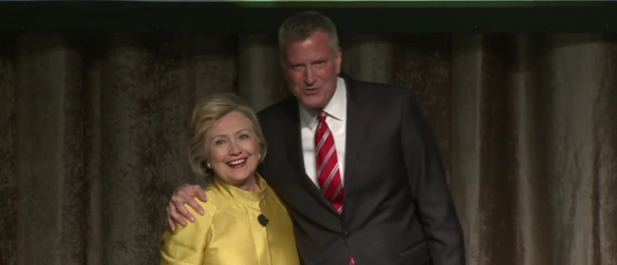 "Hillary Clinton and Bill de Blasio appear at ""Inner Circle Show."" April 9, 2016. (Youtube screen grab)"