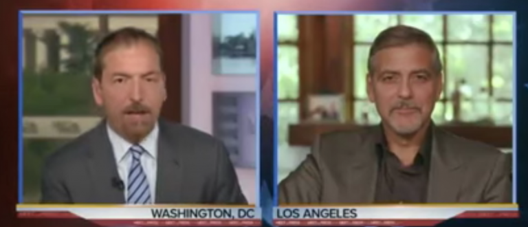 """Meet the Press"" host Chuck Todd interviews George Clooney. (Youtube screen grab)"
