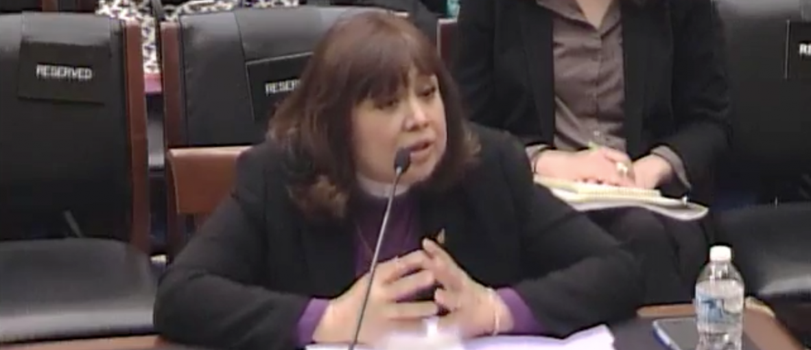 United Method Church Bishop Minerva Carcano testifies at a congressional hearing, April 19, 2016