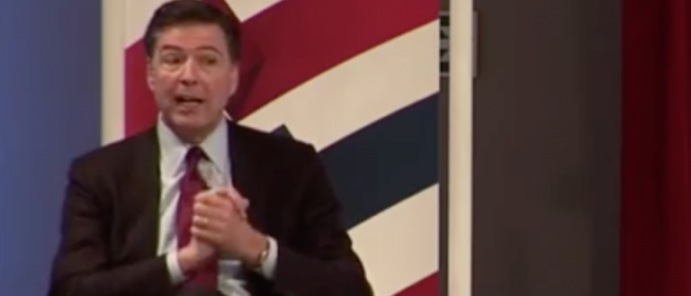 FBI director James Comey speaks at the Aspen Security Forum in London, April 21, 2016. (Youtube screen grab)