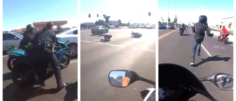 CRAZY: Motorcyclist Runs From Cop After Getting Tackled Off A 'Hot Bike' (YouTube)