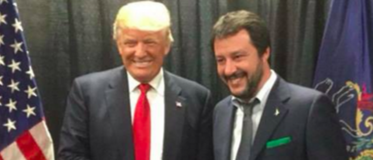 Donald Trump and Matteo Salvini after a rally in Wilkes-Barre, Penn. Monday. (Screenshot from Twitter)