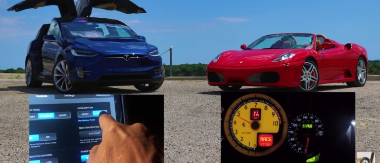 DRAG RACE: Tesla Model X Vs. Ferrari F430 ... Guess Who Wins (YouTube)