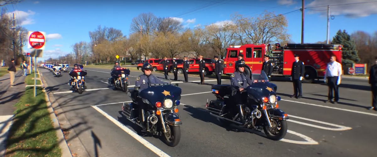 Officer Noah Leotta Funeral Procession. (Screenshot/YouTube/Andrew Yarrow)