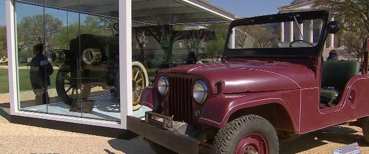 Willys Jeep displayed on the National Mall. (Screenshot/YouTube/Fox5)