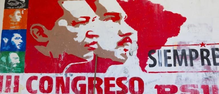 MARGARITA, VENEZUELA, APRIL 18: Political red grapffiti of Hugo Chavez and Nicolas Maduro on a wall in Pampatar, Venezuela 2015