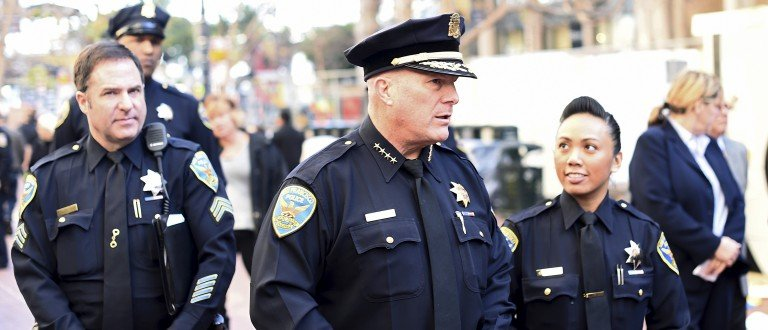 San Francisco Police Chief Greg Suhr walks through Super Bowl City in San Francisco, California January 27, 2016. The venue will host football fans in the days leading up to Super Bowl 50 on February 7. Picture taken January 27, 2016. REUTERS/Noah Berger