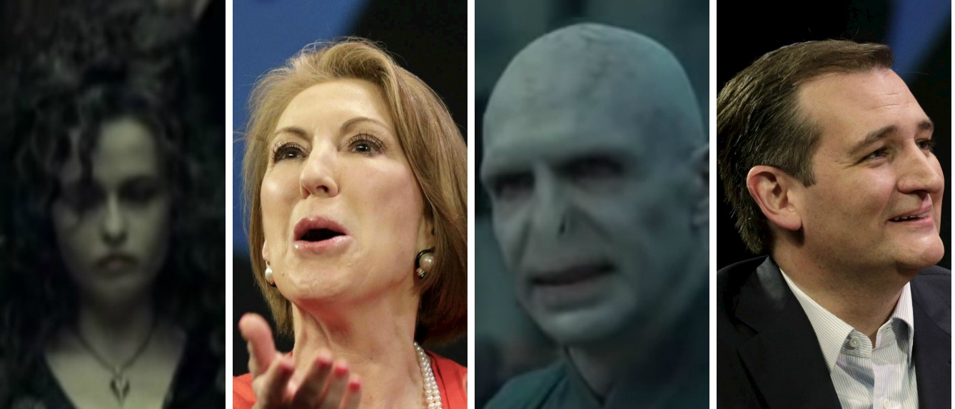 Ted Cruz, Carly Fiorina, Bellatrix Lestrange, Voldemort, Images via YouTube Screen shot and Reuters