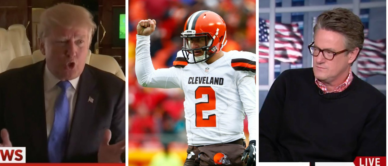 Trump, Manziel, Scarborough, Images via Screen Shot MSNBC and Getty, 4-19-2016