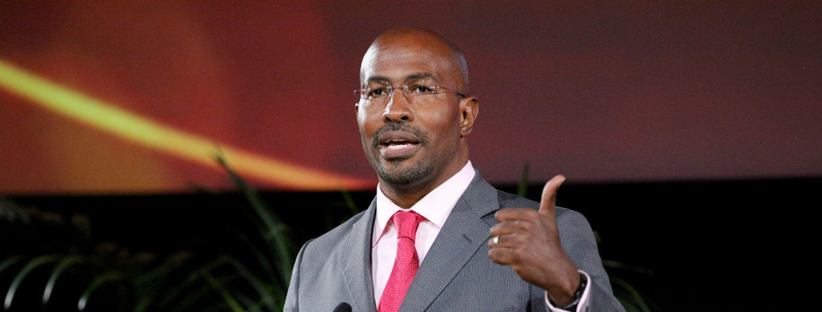 BURBANK, CA - OCTOBER 24: Van Jones accepts the 'Greenbiz Global Innovator Award' onstage during the 25th annual EMA Awards presented by Toyota and Lexus and hosted by the Environmental Media Association at Warner Bros. Studios on October 24, 2015 in Burbank, California. (Photo by Imeh Akpanudosen/Getty Images for Environmental Media Awards)
