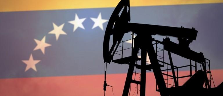 Oil pump on background of flag of Venezuela