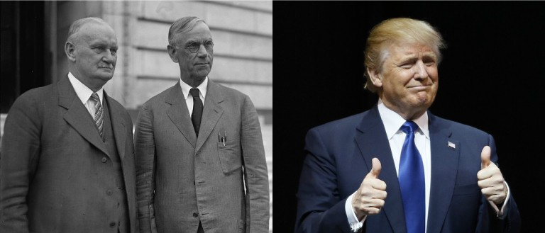 Willis Hawley and Reed Smoot public domain via Library of Congress, Trump Reuters/Rick Wilking