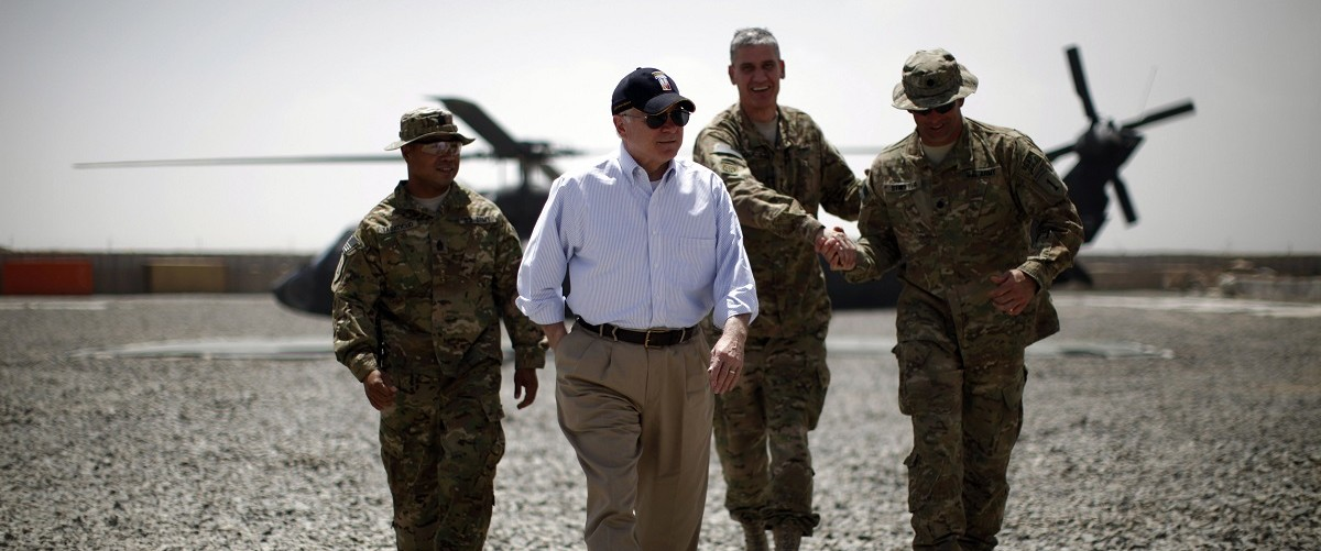 U.S. Secretary of Defense Robert Gates arrives at Combat Outpost Andar in Afghanistan