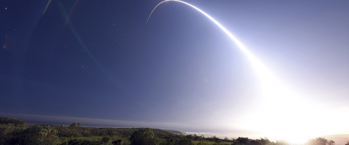 An unarmed Minuteman III ICBM launches during an operational test from Vandenberg Air Force Base California