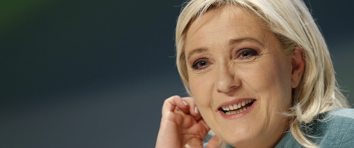 """France's far-right National Front political party leader Le Pen talks during a news conference at the end of the """"Europe of Nations an freedom"""" meeting in Milan"""